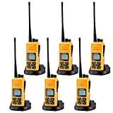 Sanzuco Long Range Rechargeable Two-Way Radio with Headset, Handheld Reprogrammable Walkie Talkie with Announcement Function, 3000mAh Li-Battery, Dock Charger Included (Orange, 6 Pack)