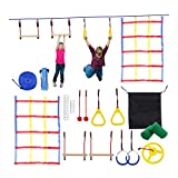 HT&PJ Barreras colgantes para escalar, slackline, monkey Pole and Webbing Net, fitness Obstacle Training Campo para niños y adultos, soportan 600 kg