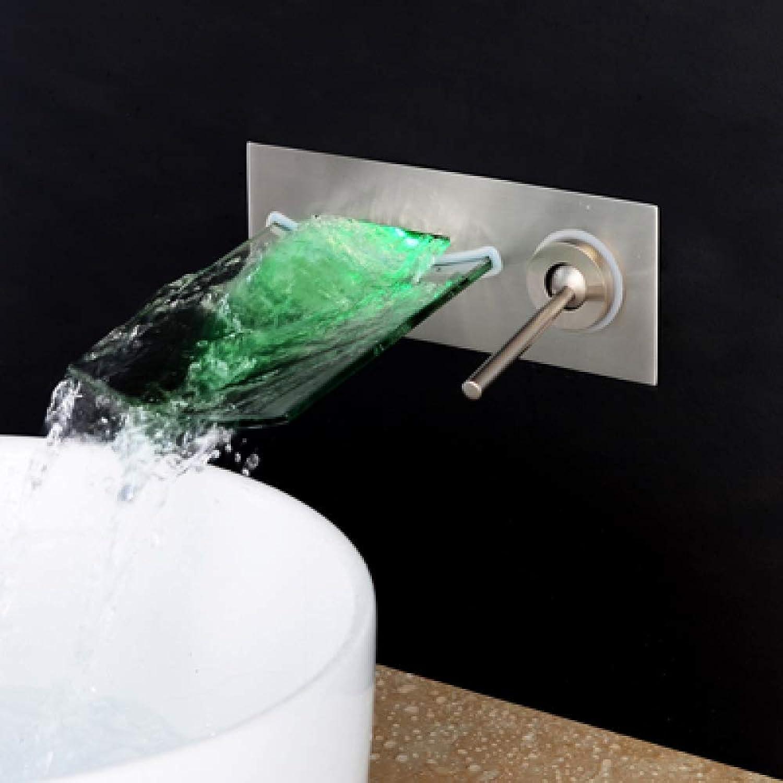MALIAO Wandhalterung LED Messing Grünckte Glas Wasserfall Waschbecken Mischbatterie Nickel Gebürstet Farbwechsel Waschbecken Wasserhahn