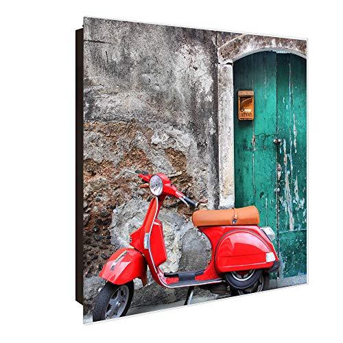 banjado Großer Schlüsselkasten aus Glas   Schlüsselbox mit 50 Haken   beschreibbare Glastür Scharnier Rechts   als Magnettafel nutzbar   Schlüsselaufbewahrung 30cm x 30cm   Motiv Italienischer Roller