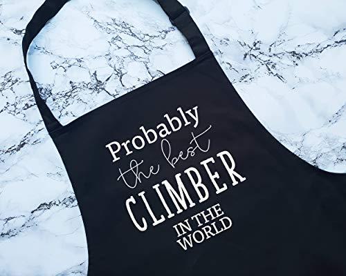 Delantales probablemente el mejor escalador del mundo divertido regalo cocina barbacoa para escalada en roca, entusiasta de roca, escalada y montaña