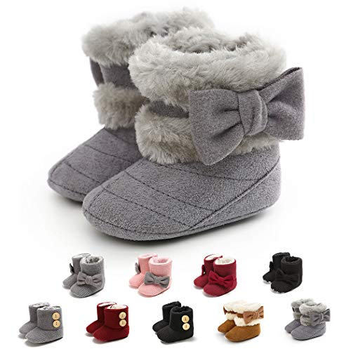 Infant Boots Winter Baby Girl Shoes Soft Sole Anti-Slip Toddler Snow Warm Prewalker Newborn Boots(0-6 Months M US Infant,A-Grey)
