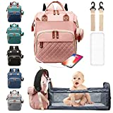 Diaper Baby Backpack With Changing Station Travel Baby Bags For Dad Mom Large Capacity Nappy Mom Bags with Crib Pacifier Case USB Charging Port Insulated Pockets Waterproof