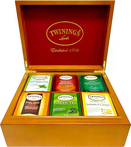 Twinings of London 6 Slot Wood Chest Gift Set Tea Variety Sampler, 60 Count (10 of Each Flavor - Green, Earl Grey, English Breakfast, Lemon & Ginger, Peppermint, Irish Breakfast)