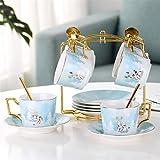 ZHSGV 200 ml Bone China Taza y platillo de la fantasía del Bosque de cerámica Taza de té Conjunto con Acero Inoxidable 304 Cuchara (Color : 6 Sets with Holds)
