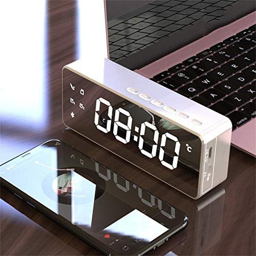 Sivane Altavoz Bluetooth inalámbrico LED Espejo Despertador Subwoofer Reproductor de MP3 Tarjeta TF Altavoces portátiles