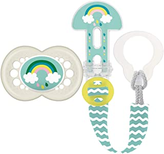 MAM Rainbow Set (Clip It & 6+M Soother) Blister, Baby Essentials Set for 6 Months and Older, Soother Clip and Soother Set,...