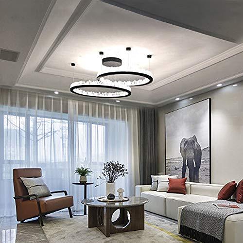 LED Moderne Kristall-Kronleuchter, Kronleuchter Deckenleuchte Licht Luxus minimalistische Wohnzimmer Esszimmer Schlafzimmer Beleuchtung, warm und warmen Ton Beleuchtung, rundes,Roundblack,XXXL