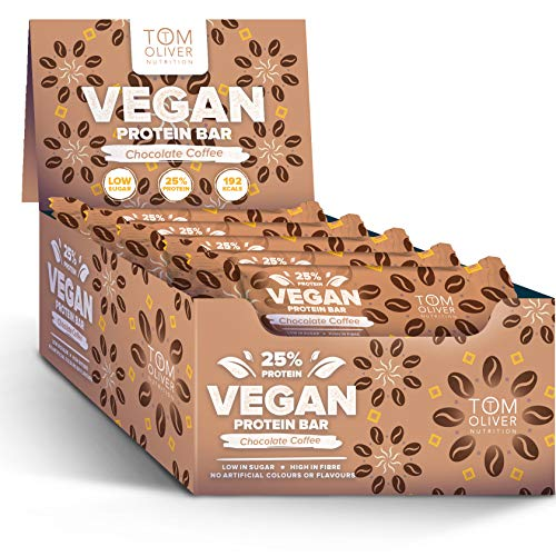 Tom Oliver Nutrition - Vegan High Protein Bars - Pack of 20 (Chocolate Coffee)