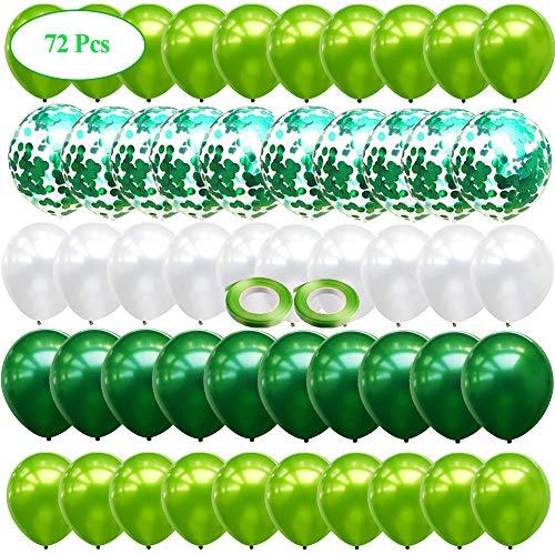 JUZNOY 72 Stück Luftballons Grün Blua Rosa Weiß Ballons mit Konfetti für Babyparty Junge Kinder Geburtstag Party Deko (grün)