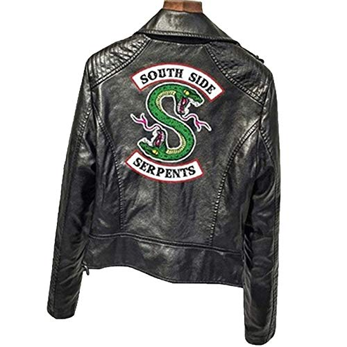 WZWZ Moda Riverdale PU Print Riverdale Logo Chaqueta con Estampado De Serpiente Mujer Riverdale Snake Print Streetwear Chaqueta De Cuero Chaqueta Deportiva