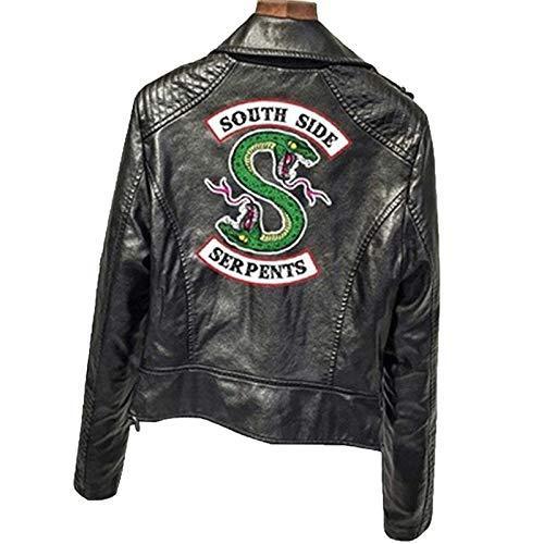 WZWZ Modische Riverdale Pu Print Riverdale Logo Snake Print Jacke Frauen Riverdale Snake Print Streetwear Lederjacke Sportjacke