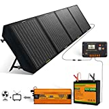 ECO-WORTHY Portable Power Station 360Wh Backup Lithium Battery, 110V/600W Pure Sine Wave AC Outlet, Solar Generator Kit: 120W Foldable Solar Panel+30Ah LiFePO4 Battery+600W Solar Inverter