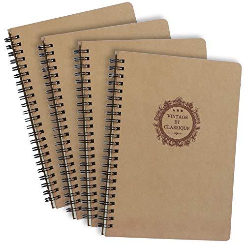 anaoo A5 Bloc de Notas Cuaderno en Espiral, Libreta Hojas Blancas Cuaderno notas, Cubierta de Kraft Diario de Viaje. 4pcs x 80 Hojas.