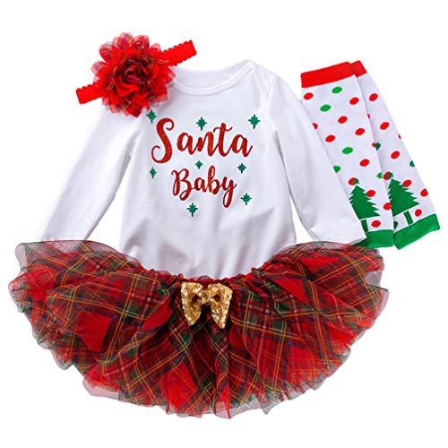 Ketamyy Baby Mädchen Weihnachten Tütü Kleidung Drucken Neugeborene Langarm Strampler+Rock+Stirnband+Beinwärmer, Sanft Herbst Kinder Und Kleinkind 4PCS Set Weihnachtsanzug Santa Baby 73(6-12 M)
