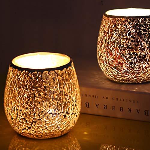 Mobestech 2pcs Mosaik Kerzenhalter goldenes Mosaik Glas Kerze Teelichthalter für Hochzeitsfeier Esstisch dekorativ