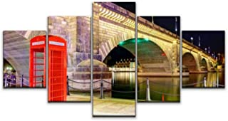 Skipvelo 5 Panels Wall Canvas Prints Pictures, London Bridge, Lake Havasu City arizonas and Pictures Wall Paintings Wall Decor Stretched and Framed Ready to Hang