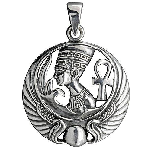 Nefertiti faraone ciondolo egiziano Ankh in argento massiccio 9257.7g Timbrato Beldiamo