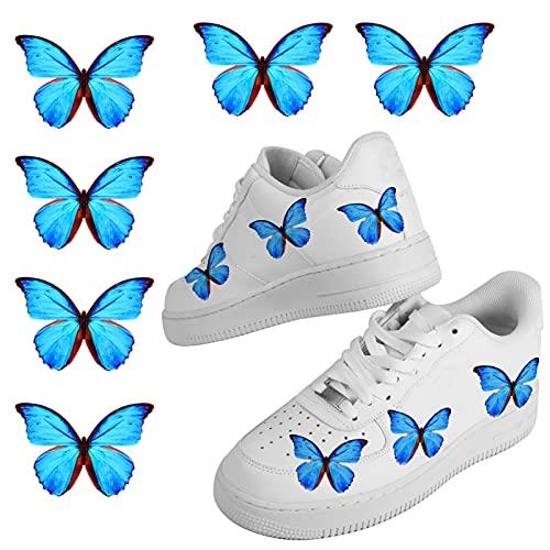 Schmetterling-Wärmetransfer-Aufkleber für Schuhe, personalisierbar, Schmetterlingsschuhe für Damen, 6 Stück, blau, 17 EU