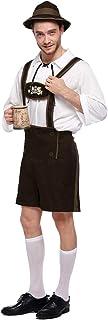 Quesera Men`s Oktoberfest Costume Set German Bavarian Guy Outfits Lederhosen Kit