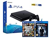 PS4 Slim 1To Noir - Playstation 4 + Uncharted 4 : A Thief's End + GTA V 'Grand Theft Auto 5'