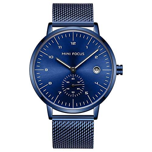 JTTM Relojes Hombre De Malla Ultra Fino Negro para Hombres Relojes De Pulsera De Moda Minimalista De Lujo para Relojes Hombre Casual Reloj Hombre De Cuarzo Impermeable,Azul