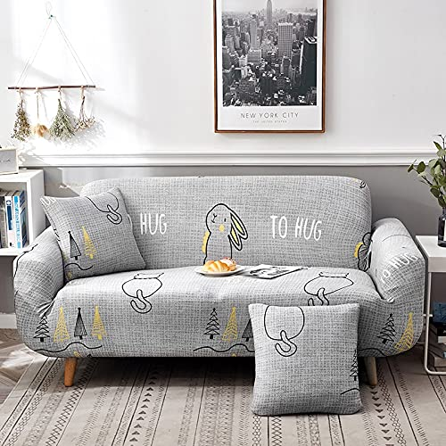 Funda de sofá Gris de Alta Elasticidad, Funda de sofá con patrón de Colores, Funda de sofá Universal Ultrafina, Funda de sofá pequeña, Mascotas para niños A6 de 2 plazas