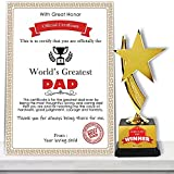 Jhingalala Gift for Father | World's Greatest Dad Certificate with World's Best Dad Winner Trophy | Gift for Father, Papa, Dad on Birthday, Father's Day (Size: A4, 30 x 21 cm, Unframed)