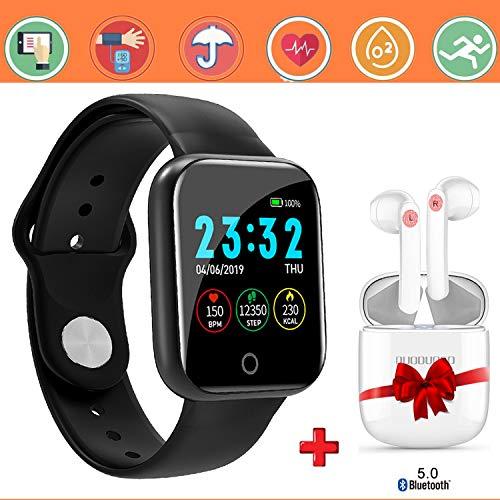 Smartwatch Offerta Del Giorno 1.3'+Cuffie Bluetooth, Smartwatch per Donna Uomo Impermeabile IP67 Fitness Tracker attività con Cardiofrequenzimetro Pedometro Notifiche per Android iOS -N