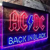 ACDC Back In Black Music Band LED看板 ネオンサイン バーライト 電飾 ビールバー 広告用標識 ブルー+レッド W30cm x H20cm