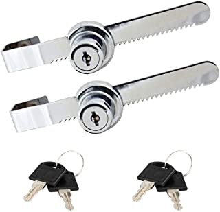 Sliding Glass Door Lock Display Case Lock Ratchet Lock with Chrome Finish, Security, Keyed Alike Showcase Display, 2 Pack
