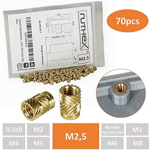 ruthex® Gewindeeinsatz M2,5 (70 Stück) | RX-M2,5x5.7 Messing Gewindebuchsen | Einpressmutter für Kunststoffteile | durch Wärme oder Ultraschall in 3D-Drucker Teile