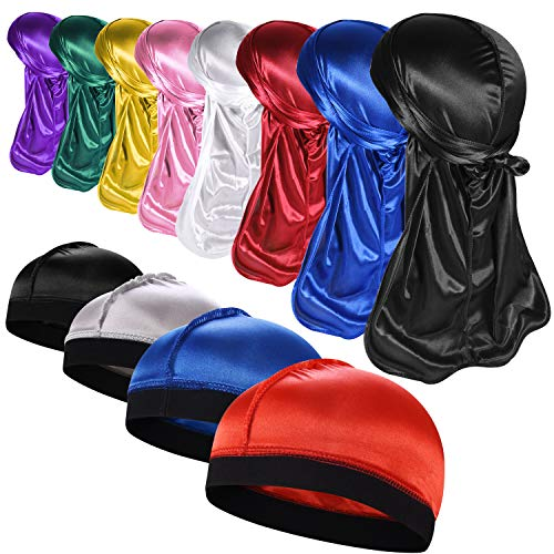 8PCS Silky Durags With 4 Wave Cap Pack for Men Waves, Satin Doo Rag,Style Z