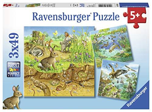 Ravensburger Kinderpuzzle 08050 - Tiere in ihren Lebensräumen - 3 x 49 Teile