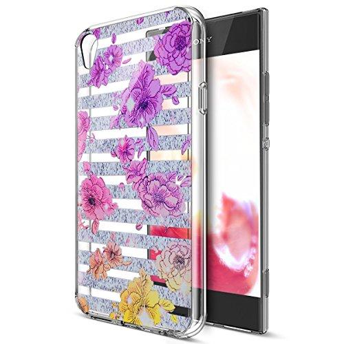 Sony Xperia XA Ultra caso, Sony Xperia XA Ultra Cover, ikasus Ultra Thin Suave TPU Caso, colorido arte pintado Mandala flores suave silicona caso de goma, cristal transparente floral suave carcasa de