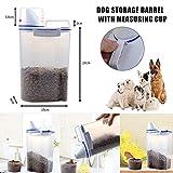 Suppyfly – Recipiente para comida para mascotas, hermético, recipiente para comida para perros gatos con vaso medidor, transparente, 2,5 L