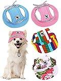 4 Berretti da Baseball per Animali Cappello da Principessa a Tesa Rotonda Completo di Protezione Solare da Sport all' Aperta con Tracolla Fori di Orecchie Regolabili di Cani (Colorato, M)