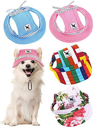 4 Stücke Haustier Baseball Hut Runde Krempe Prinzessin Kappe Outdoor Sport Sonnenschutz Kleidung mit Halsriemen Verstellbare Bequeme Ohrlöcher für Hunde (Bunt, S)
