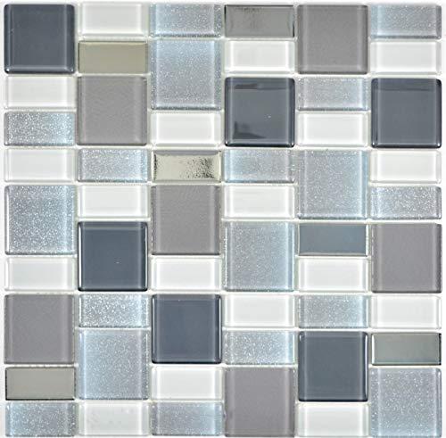 Mozaïektegel doorschijnend rook combinatie glinsterend rookkleurig MOS68-0216F_f   10 mozaïekmatten