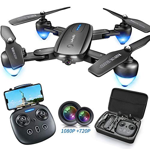 Zuhafa T4 Foldable Drone with 1080P HD Camera,WiFi FPV RC Drone with Camera Live Video Drone for Beginners-Gesture Photographing,Human Following,Palm Control,Double Camera(2Pcs Batteries)