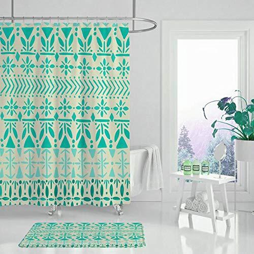XCBN Geometriskt tryck duschdraperi badrumsgardin vattentät och mögelresistent badrumsvägg gardin matta Co A6 150 x 200 cm