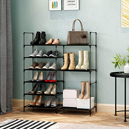 KIKIONLIFE DIY Shoe Rack Tower Storage Organizer Cabinet 6 Tier for High-Heeled Shoes Boots