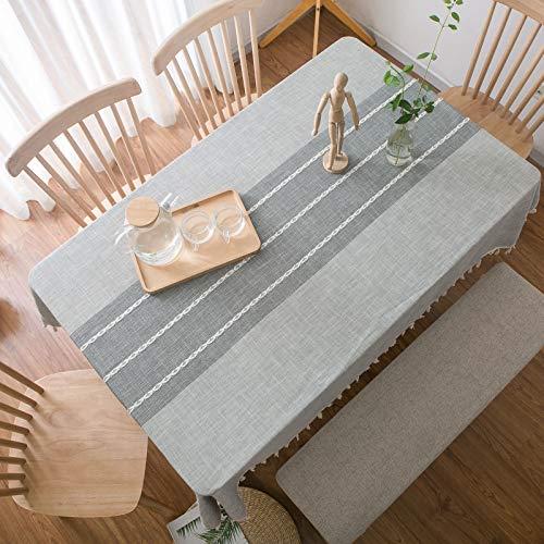 Aonewoe Rechteck Tischdecke 140x250cm Dekoration Elegante Baumwoll-Leinen Tischdecke mit Quaste Rand Staubdicht Waschbar Küchentisch Abdeckung für Esstisch (Grau)