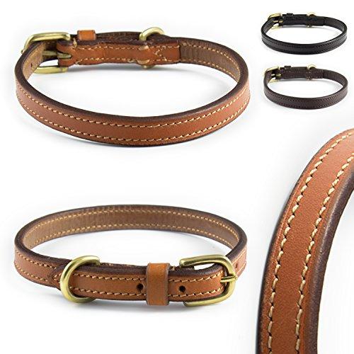 Pear - Tannery - Classic Line: Hundehalsband Ungepolstert, Aus Weichem Vollrindleder, Mini XXXXS 15-22cm, Hellbraun