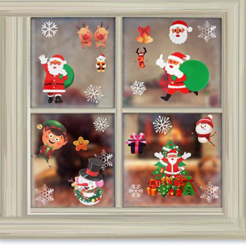 TENOL Christmas Decorations Window Stickers, Xmas Decorations Santa Elf Reindeer Snowflake Window Clings Wall Sticker Wall Decals Reusable DIY Window Door Room Merry Christmas Stickers 115 PCS