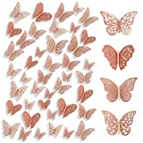 3D Mariposas Decorativas 96PCS Mariposas Adhesivas Murales 3D Mariposas Pegatinas para Paredes Decoración Hogar Stickers Pared 3D Mariposas Pegatinas Pared Decorativa 4 Estilos 3 Tamaños (Oro Rose)