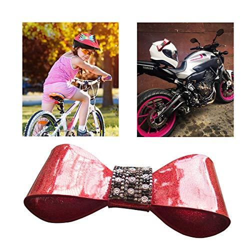 3T-SISTER Helm Boog Motorhelm Boog Knot,Voorruit Decoratie, Helm Accessoires, voor Bike Helm Motocross Helm Biker Helm, Auto Raam Decoratie, Herbruikbaar Ontwerp Crystal Bling Sunshine