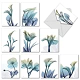 The Best Card Company - 10 Flower All Occasion Blank Cards (4 x 5.12 Inch) - Boxed Cards with Envelopes - Blooming Expressions AM6221OCB-B1x10