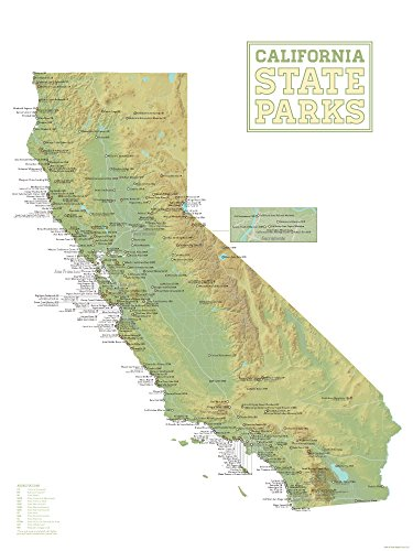 Best Maps Ever California State Parks Map 18x24 Poster (Green & White)