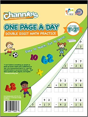 Channie's One Page A Day Double Digit Math Problem Workbook for 1st - 3rd Grade Simply Tear Off On Page a Day For Mat...